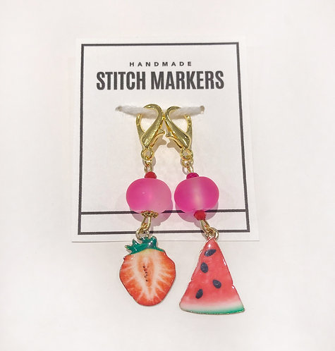 Stitch Markers - Strawberry & Watermelon