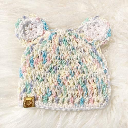 Pastel Rainbow - Newborn Teddy Bear Hat