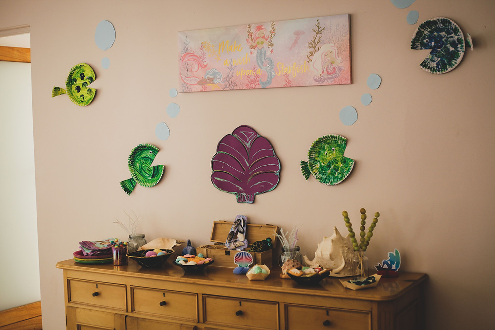 home made diy party decorations for mermaid party