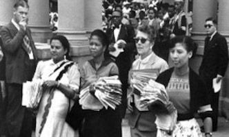 Womens Day South Africa. Leaders of the 1956 March holding petitions outiside government buildings.