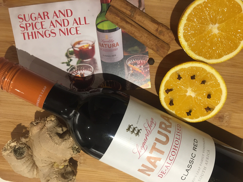 Leopard's leap de-alcoholised red wine. Wine of South Africa. Making Gluhwein from red wine .