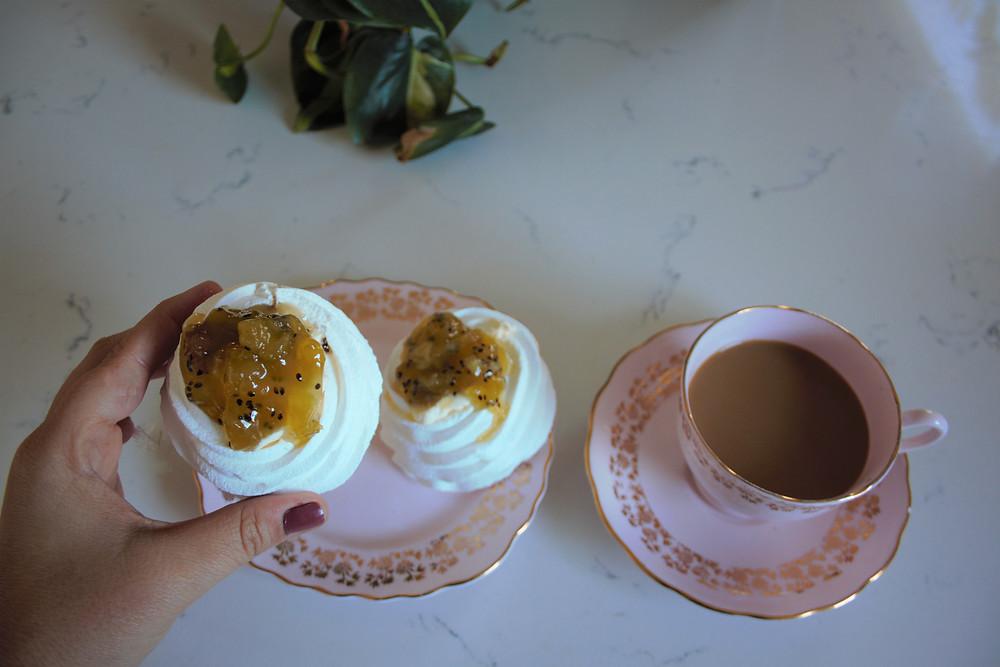 mini pavlovas with kiwi fruit compote. high tea. easy recipe for high tea
