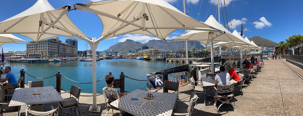 Panoramic view of Ginja Restaurant at Victoria and Alfred Hotel at Victoria And Alfred waterfront in cape town south Africa.