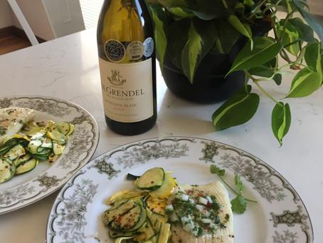 Wine Review and Food Pairing - De Grendel Sauvignon Blanc 2019 with Calamari Steaks
