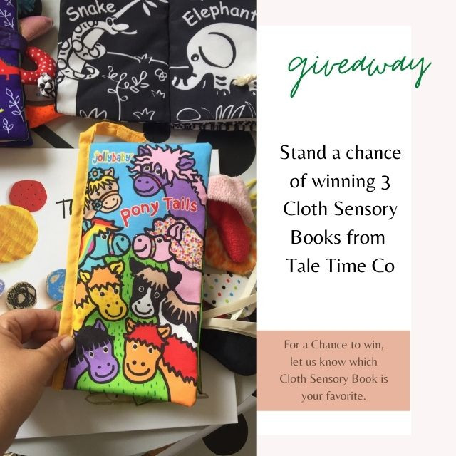 Giveaway. one lucky reader can win 3 Sensory books from Tale Time co