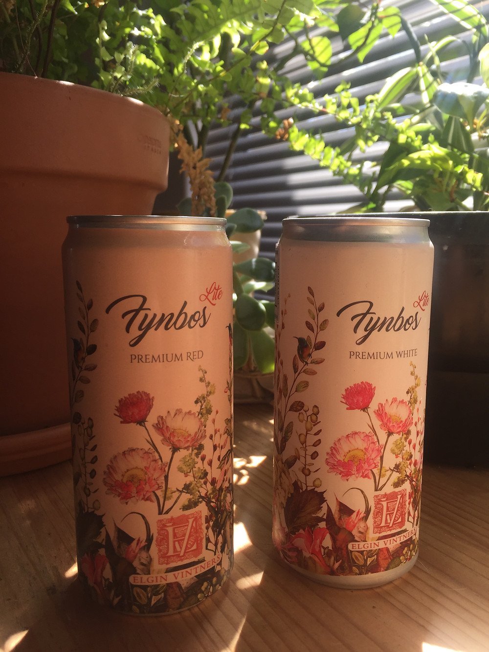 Elgin Vintners Fynbos LITE wine is available in a red and white wine. The wine is packaged in a can.