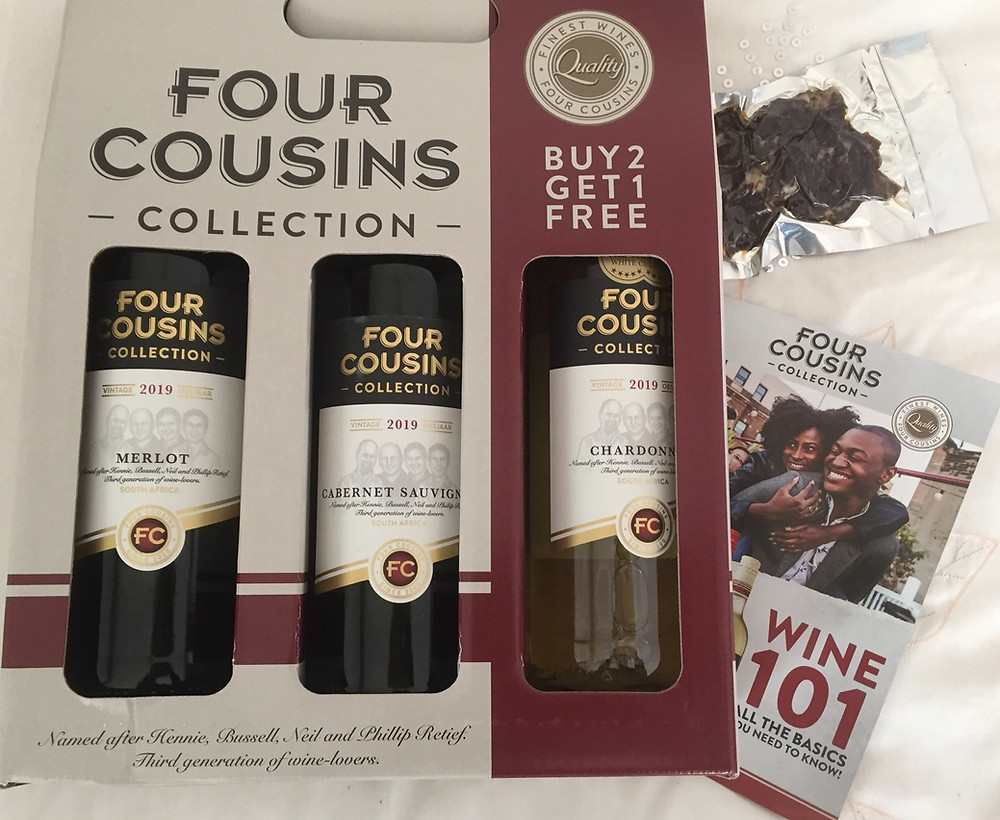 Four Cousins wine. Wine of south africa. Singe varietal wine. Wine from Robertson. promotional apck of wine.
