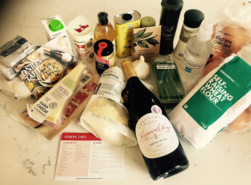 ingredienst to make a onion tart to pair with a Chenin Blanc wine.