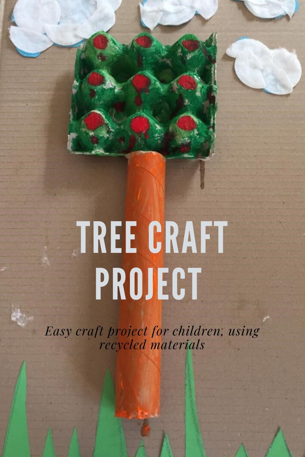 Easy DIY craft project for children using recyclable products from around the home. Make a tree craft on a budget.