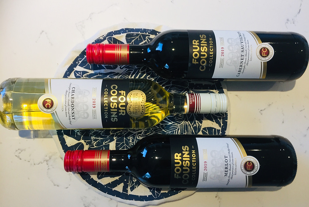 Four Cousins Collection. Wines of South Africa, Wines of Robertson. Chardonnay, Cabernet Sauvignon Blanc, Merlot.
