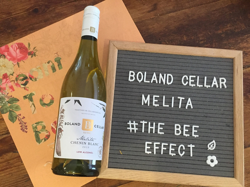 Boland Cellar low alcohol wine. henin Blanc from Melita range. Money raised to help bee projects such as the Bee Effect