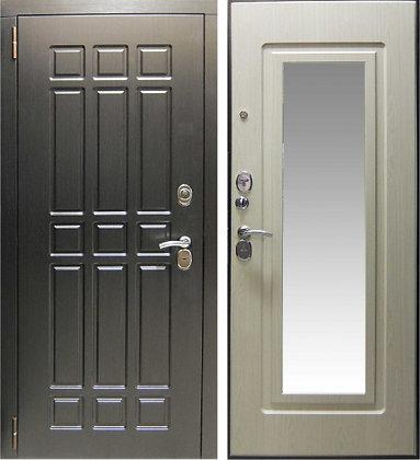 Квадро стальная дверь с зеркалом