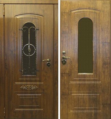 Дверь входная со стеклом и ковкой ШАЛЕ