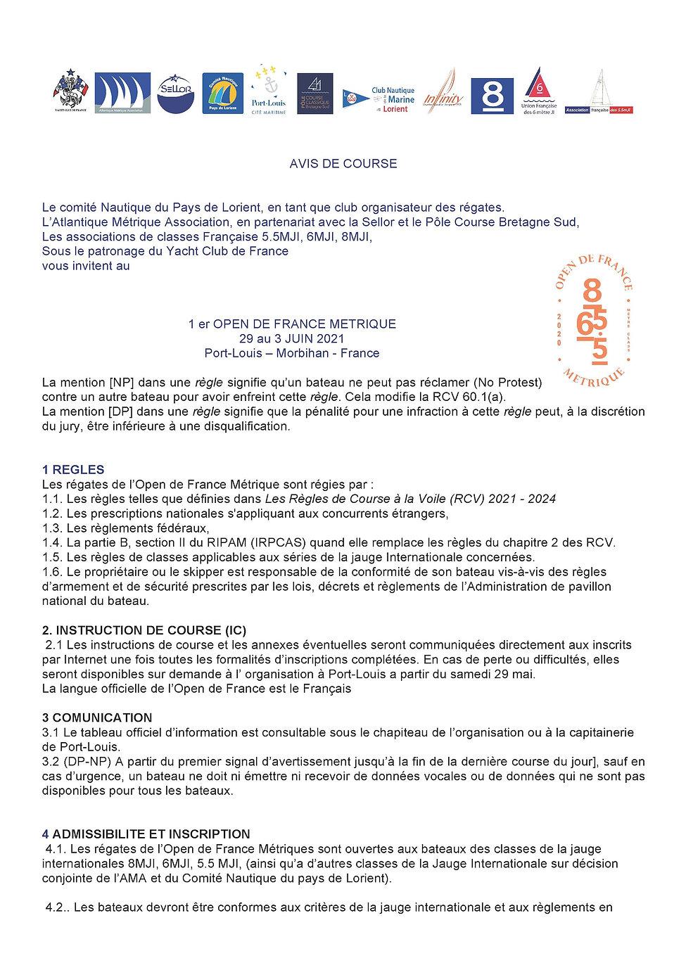 OPEN 2021 AVIS DE COURSE 18Mars 2021_Pag