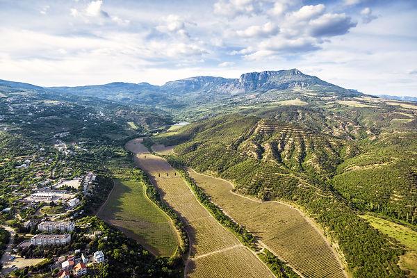 Landscape of Crimea, Russia. Aerial pano