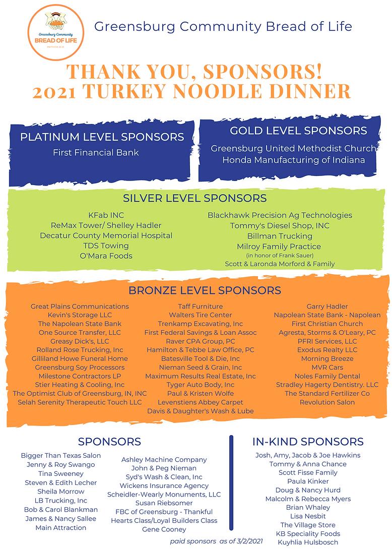 2021 Turkey Noodle Dinner Sponsors