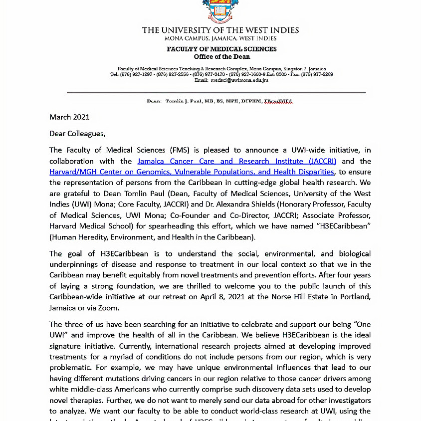 H3ECaribbean: Invitation from the Deans of Medicine, The University of the West Indies