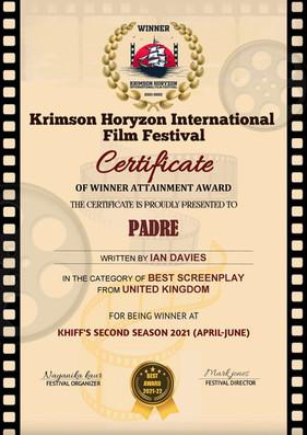 Padre // Krimson Horizon International Film Festival - Best Screenplay