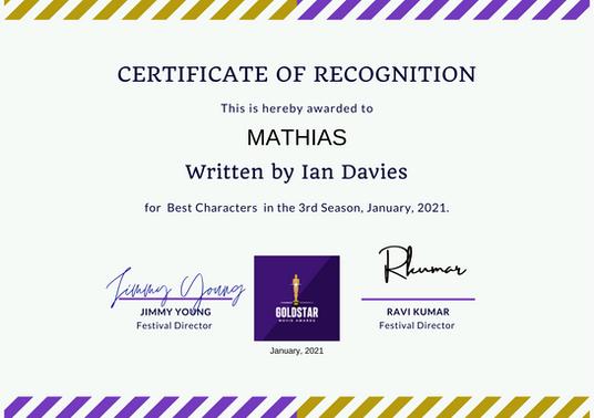 Mathias // Goldstar Film Awards - Best Characters