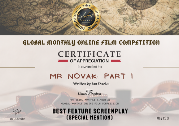 Mr Novak Part 1// Global Monthly Online Film Competition - Best Feature Screenplay
