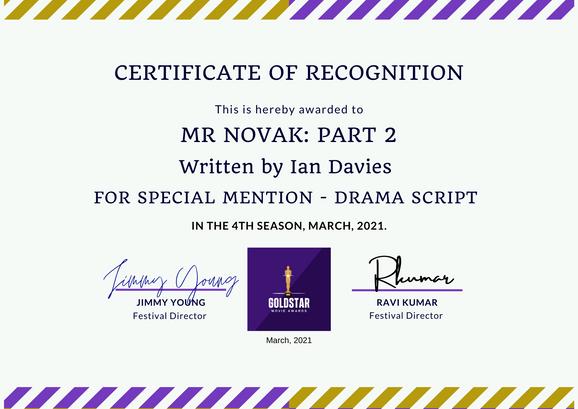 Mr Novak Part 2 // Goldstar Film Awards - Special Mention Drama Script