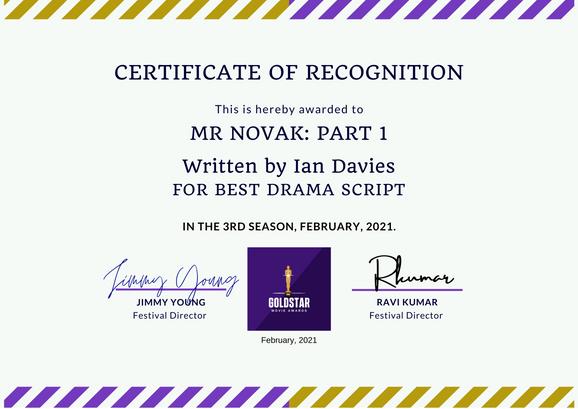 MR Novak Part 1 // Goldstar Movie Award - Best Drama Script