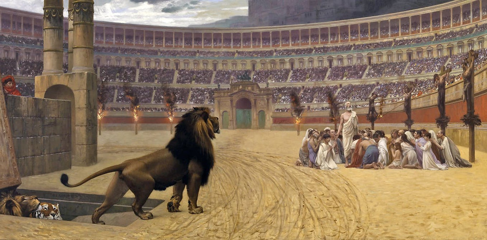 Middle Age Morality Plays Myth of Christians Martys Being Fed to Lions in the Roman Coliseum