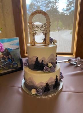wedding cake purple mountains