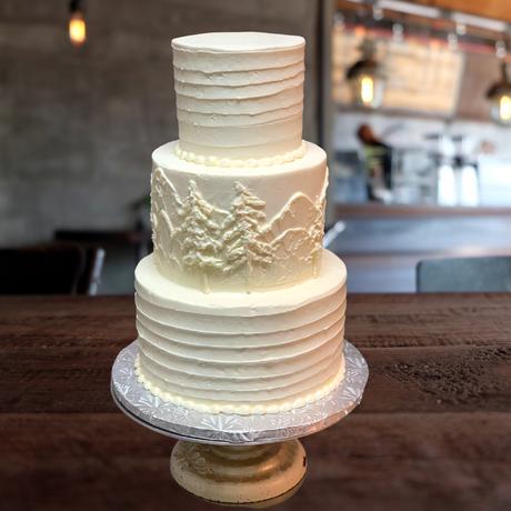 wedding cake 3 tier mountain scape