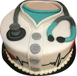 Custom cake that looks like a doctors smock with a stethoscope. Perfect graduation cake for a doctor or nurse.