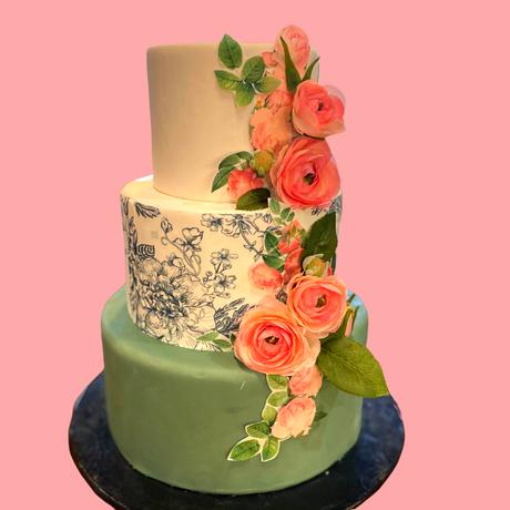 Wedding cake 3 tier floral