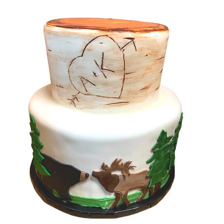 wedding cake mountain scene