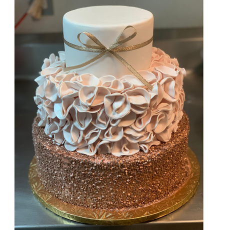 wedding cake rose gold accent