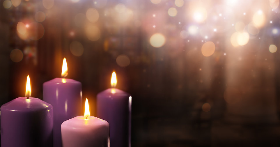 Advent Candles In Church - Three Purple