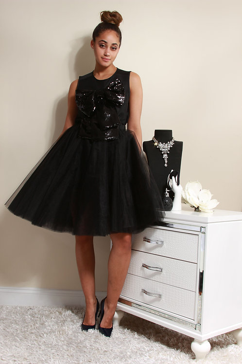 SEQUIN BOW BLOUSE AND SKIRT SET