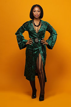 Velvet Wrap Dress and Stockings