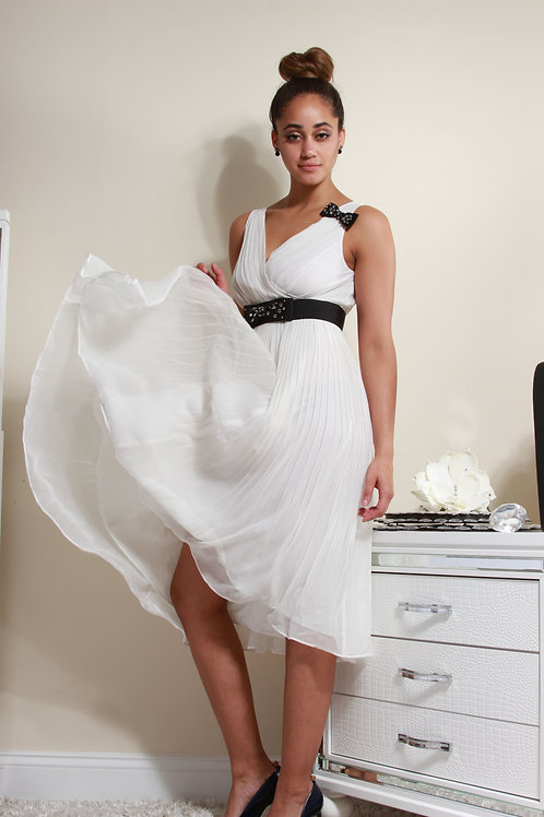WHITE DRESS WITH BLACK EMBELLISHMENTS