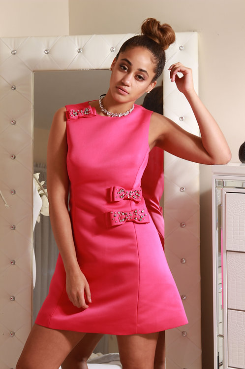 PINK COCKTAIL DRESS WITH EMBELLISHED BOW