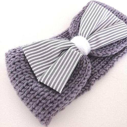 headbands gris tricoté rayé
