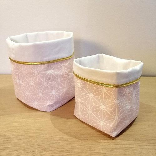 Panière rose et or