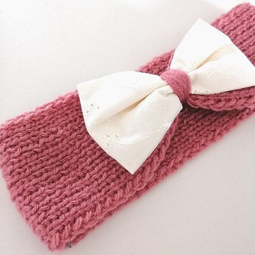 headbands tricoté Rose & broderie anglaise