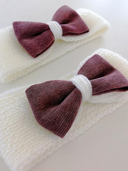 headbands blanc et velours vieux rose