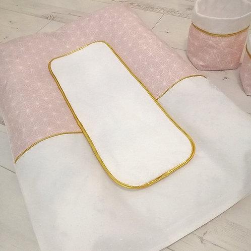 Housse matelas à langer rose blanc or