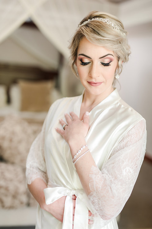 Satin and Chantilly Lace Robe