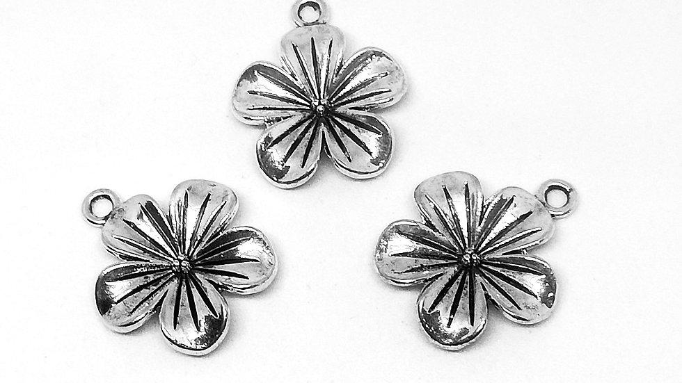 Antique Silvertone Flower Charms