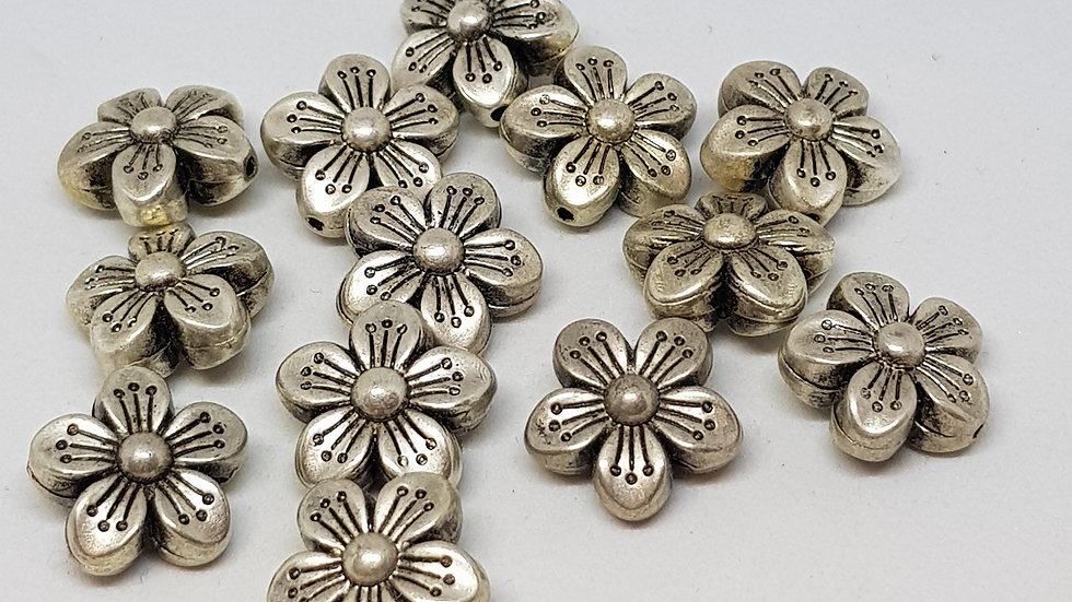 Antique Silvertone Flower Beads