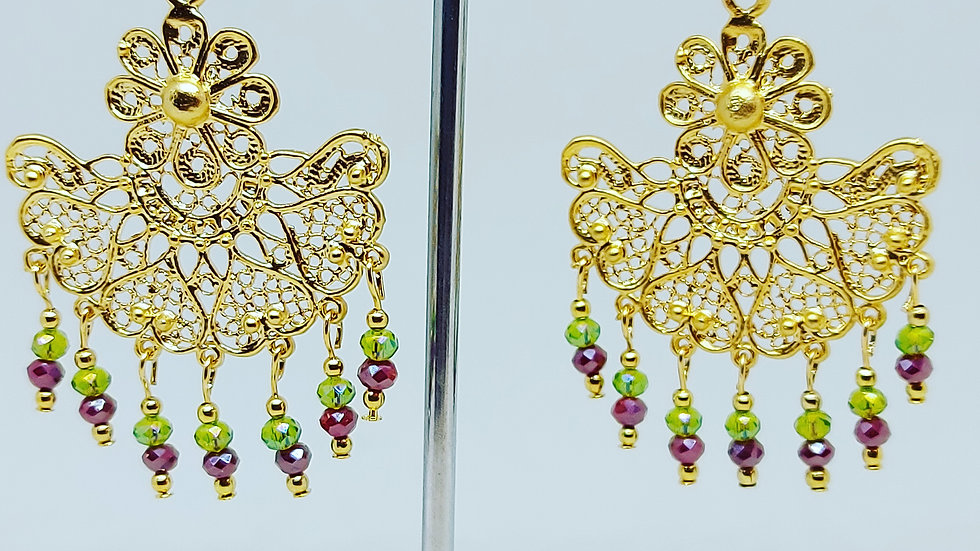 Gold & Crystal Drop Earrings