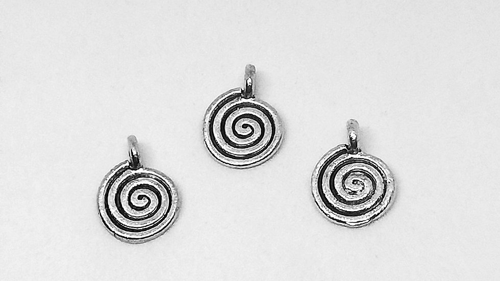 Antique Silver Tone Spiral Charm