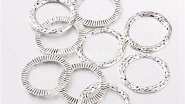 Textured Silver Linking Rings