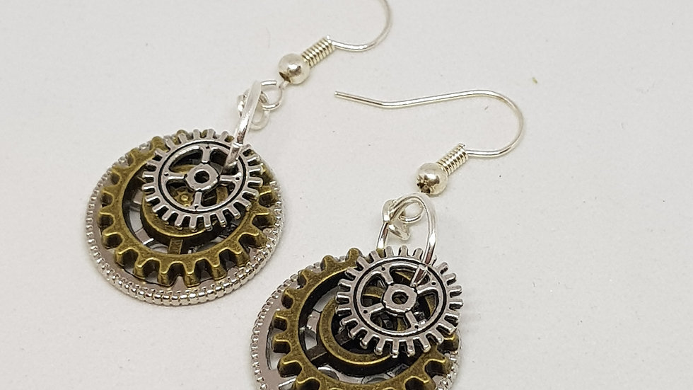 Steampunk Style Cog Earrings